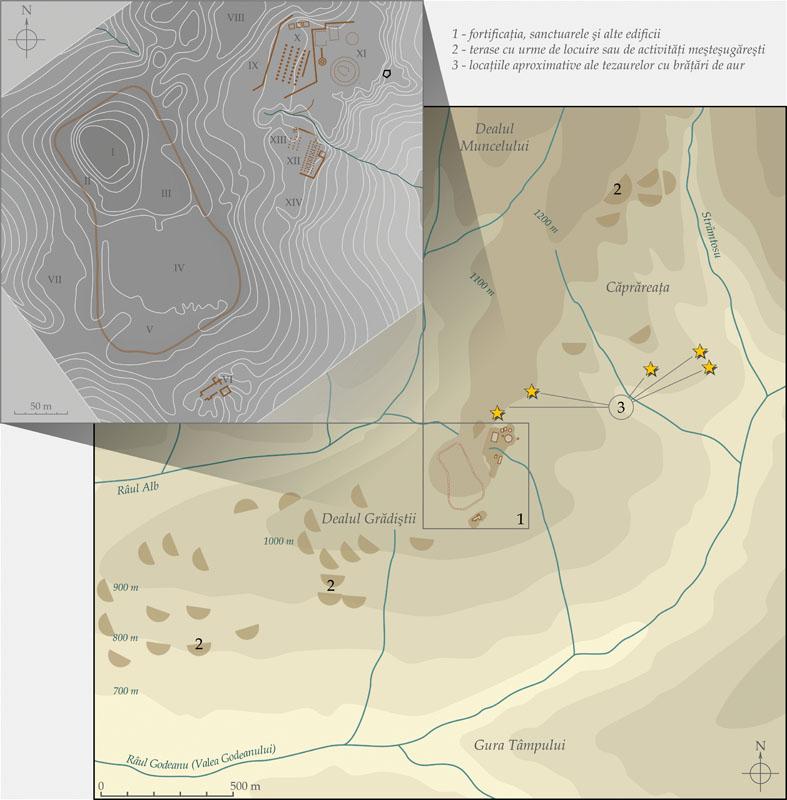 Peisajul arheologic Dealul Grădiştii – Dealul Căprăreaţa: 1 – fortificaţia, sanctuarele şi alte edificii; 2 – terase amenajate cu urme de locuire şi de activităţi meşteşugăreşti; 3 – locurile de descoperire aproximative ale tezaurelor cu brăţări de aur
