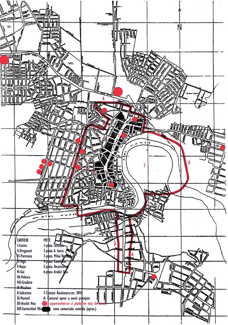 """Harta schematică a Aradului; valori urbanistice istorice raportate la reţeaua noilor supermarketuri (prelucrare a hărţii publicate de Emil Anghel, în Die Anordnung der Marktplätze von Arad, """"Historia Urbana"""", 1993, 1)"""
