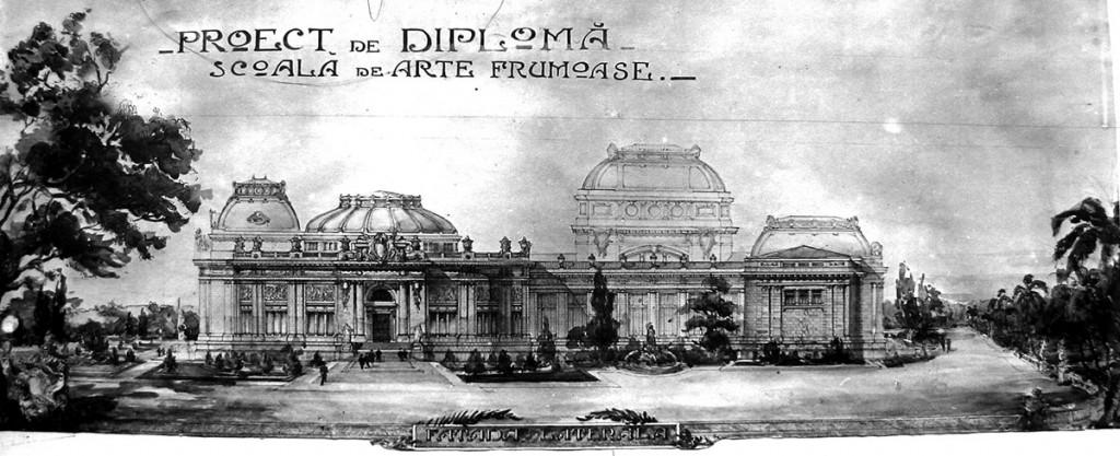 Proiect de diplomă -  Școala de Arte Frumoase, susținut în 6/13 iulie 1919 și distins cu Premiul Ministerului Educației și Învățământului