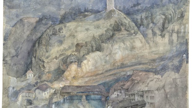 John Ruskin  View of Fribourg 1858    Credit: Private collection
