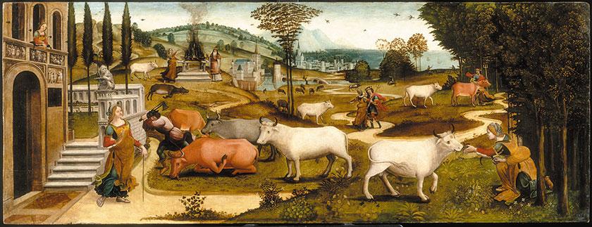 Maître des Cassoni Campana, Les amours de Pasiphaé,  entre 1510 et 1520, peinture sur bois, 0,69 x 1, 82 mètres Musée du Petit Palais, Avignon © RMN-Grand Palais