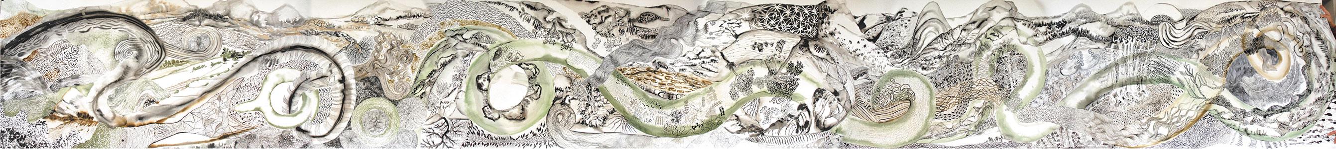 Marie Drouet, Panorama 4, encre acrylique sur papier Arches,  115 x 1000 cm, 2009, détail Photo © Alain Guillon