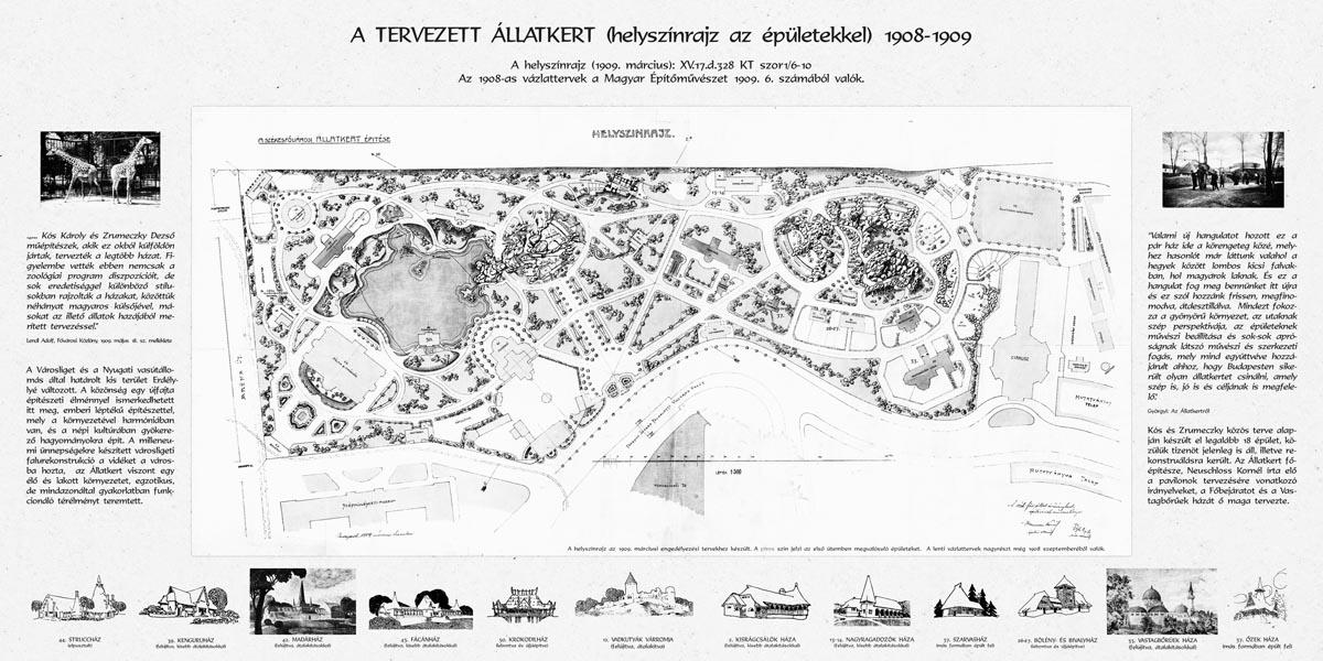 Între anii 1909-1911,arhitecțiiKós Károly și Dezső Zrumeczkyau proiectat împreunămajoritatea pavilioanelor pentru animale ale Grădinei Zoologice din Budapesta.