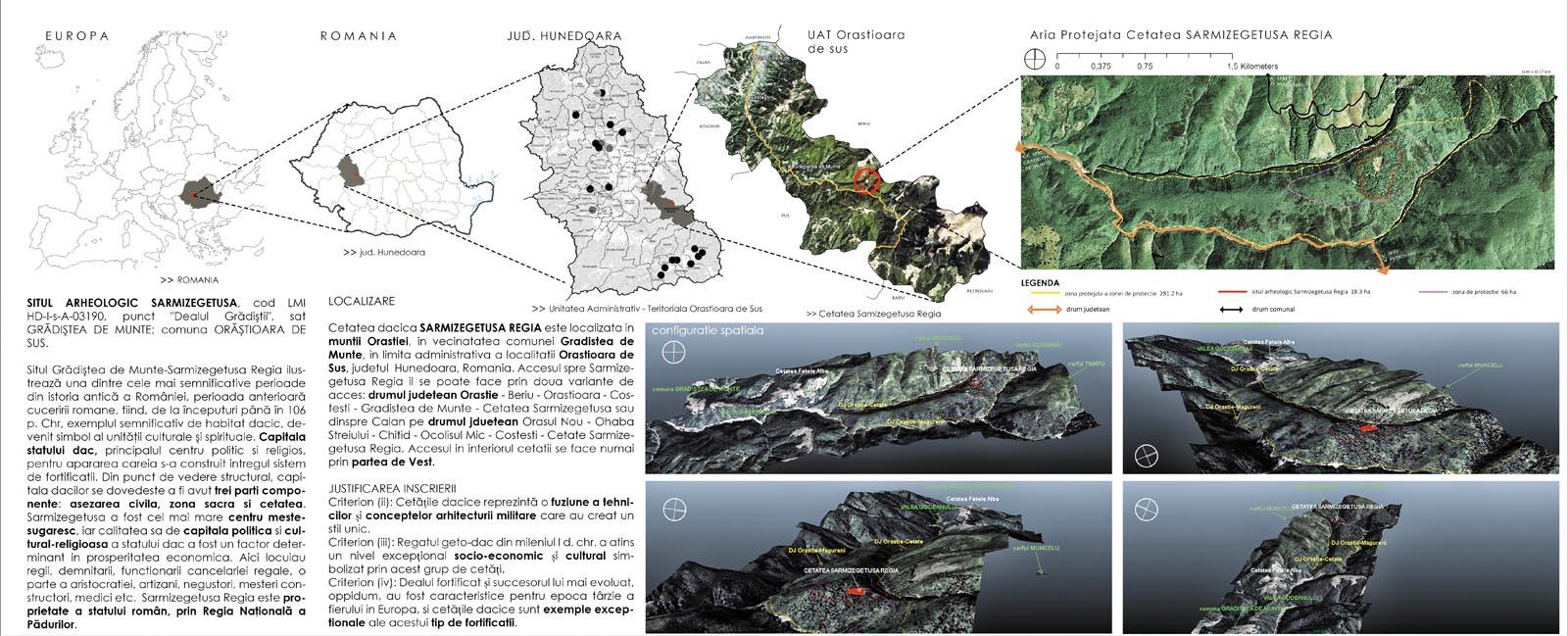 Studiu zonă protejată  Sarmizegetusa Regia Localizare