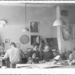 L'atelier d'architecture d'Henry Bernard dans le camp de prisonniers de Stablack (Prusse-Orientale), vers 1944 © Académie d'architecture/CAPA, Archives d'architecture du XXe siècle - ADAGP, Paris, 2014