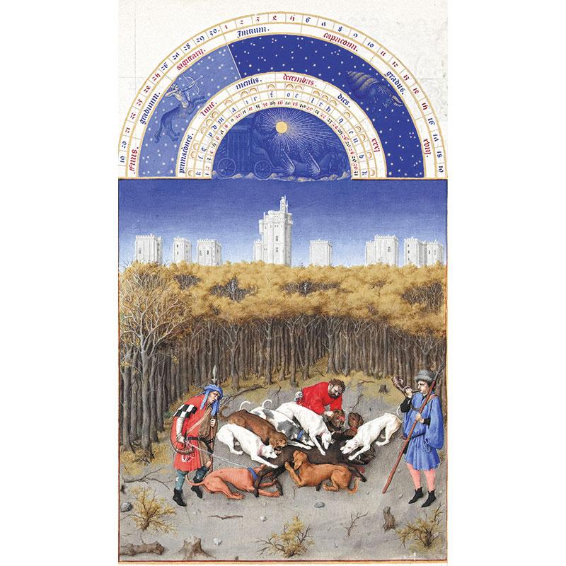 Una dintre sursele de inspirație a castelelor animate de Walt Disney, manuscrisul Les Très Riches Heures, realizat la comanda ducelui de Berry, de frații de Limbourg, 1410-1411. Decembrie. Les Très Riches Heures du Duc de Berry, Musée Condé, Chantilly. Folio 12, PD-art; copyright: domeniu public; http://commons.wikimedia.org/wiki/File:Les_Tr%C3%A8s_Riches_Heures_du_duc_de_Berry_d%C3%A9cembre.jpg