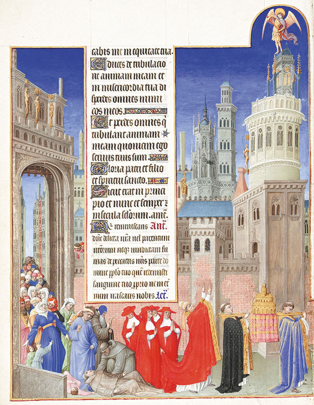 Procession de saint Grégoire. Les Très Riches Heures du Duc de Berry, Musée Condé, Chantilly. folio 71 verso PD-art; copyright: domeniu public; http://commons.wikimedia.org/wiki/File:Folio_71v_-_The_Procession_of_Saint_Gregory.jpg