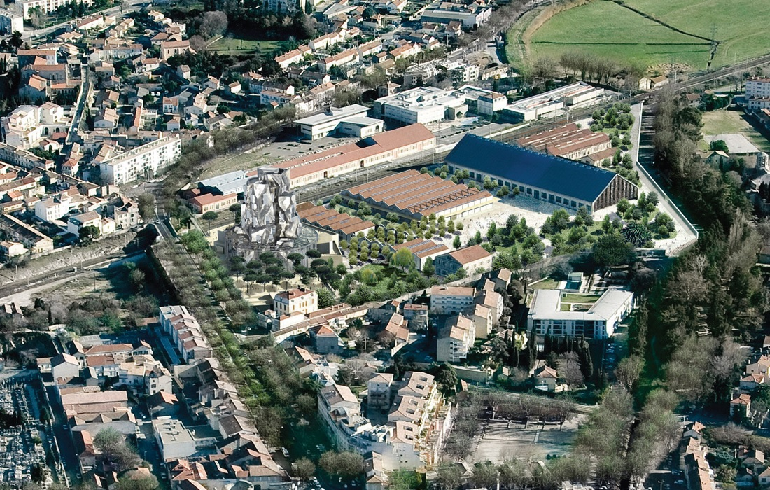 Aerial view of LUMA Arles, Parc des Ateliers; image courtesy Gehry Partners, LLP