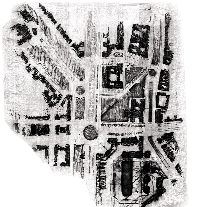 Document inedit - crochiu, proiect pentru centrul civic Iași (1978). Desen reprodus prin bunăvoința doamnei Doina Lavric și a arhitectului L.I.