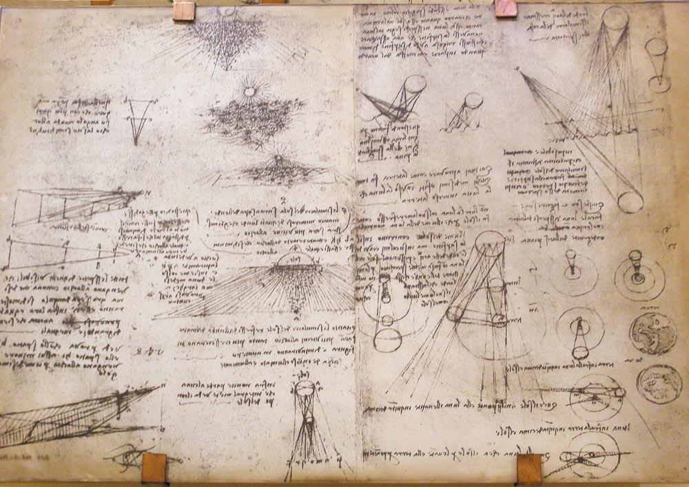 O pagină din gândirea lui Leonardo, pe un panou din Museo Nazionale della Scienza e della Tecnologia (Leonardo da Vinci)