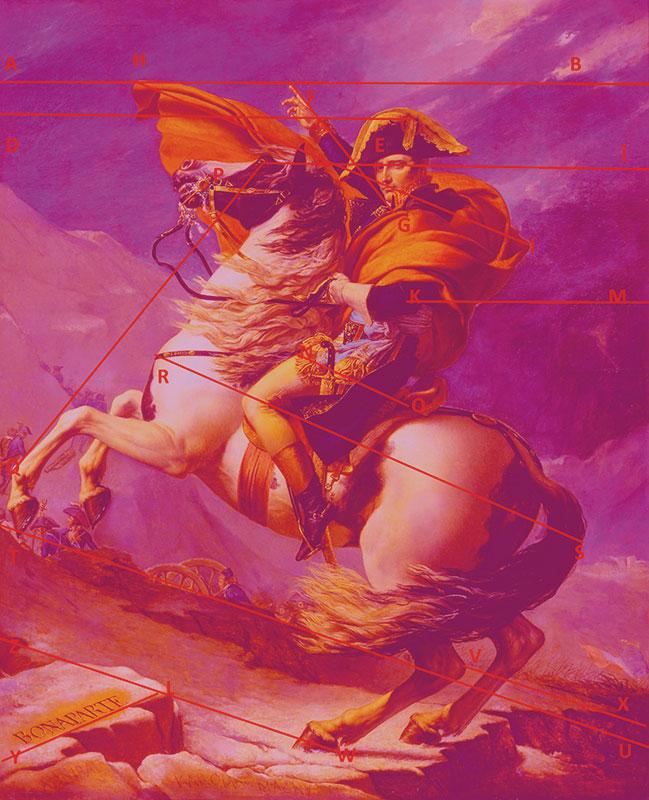 Bonaparte traversând Marele Saint-Bernard -  Jacques-Louis David, 1800, ulei pe pânză. 260 × 221 cm, Castelul Malmaison, Muzeul Național al castelului, Rueil Malmaison AB/DE = DE/BE = DE/KM  = 1,618033 ... AB/PÎ = PÎ/PA = 1,618033 ... RS/(RN+OS) = (RN+OS)/NO = 1,618033 ... TU/TV = TV/VX = 1,618033 ...