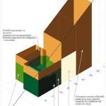 """Imaginea 12 Rezultatul studiului de vizibilitate dinspre strada General Gheorghe Manu, elaborat în anul 2005, ca reprezentare schematică: verde - volumul existent (pe atunci), portocaliu - etajarea permisă (de maximum un nivel sub şarpanta obligatorie) a volumului existent, precum şi volumul nou edificabil maxim, galben - joncţiunea dintre volumul existent (pe atunci) şi cel nou, ca închidere transparentă a unui spaţiu de tip """"atrium"""". Extras din Derer 2005, planşa 2."""