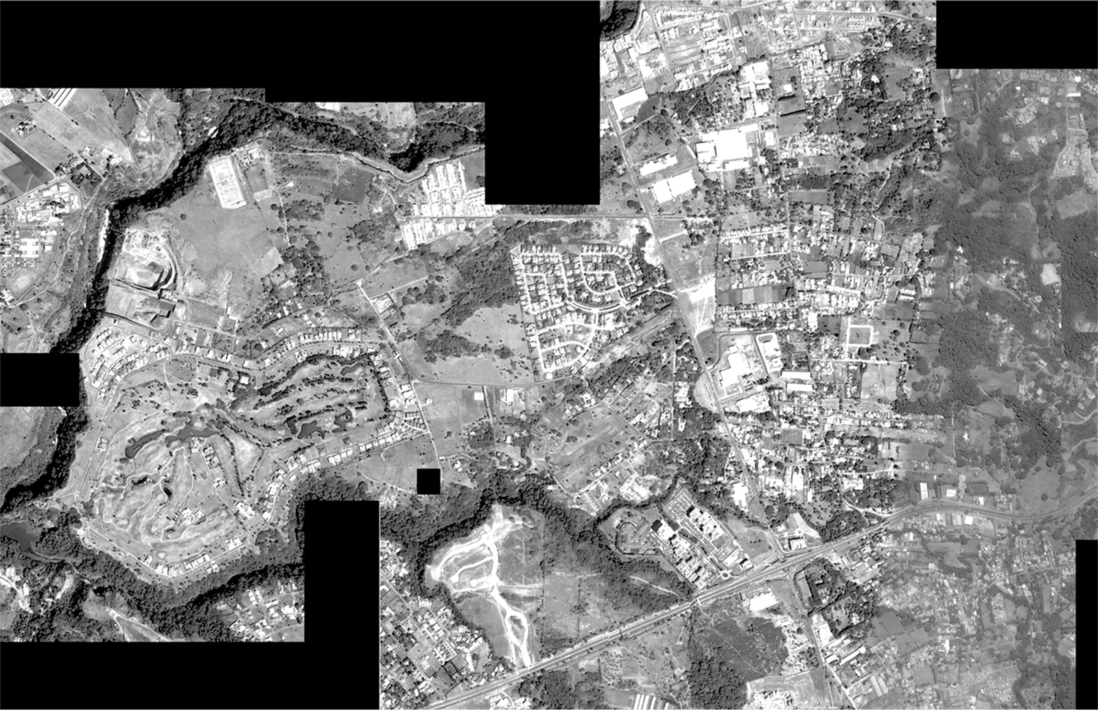 2010. The composite satellite image shows the district of Pozos de Santa Ana, one of 188 districts located within the 31 municipalities that constitute the GAM. The extremely detailed political subdivision is one of the reasons for an overall spatially fragmented and socially segregated development. The historic village of Pozos, situated at the highway intersection on the lower right side of the image, remains as a fragment amongst many. Composite image: Oliver Schütte based on Google Earth, courtesy of A-01. [Courtesy of www.A-01.net and Google Earth]