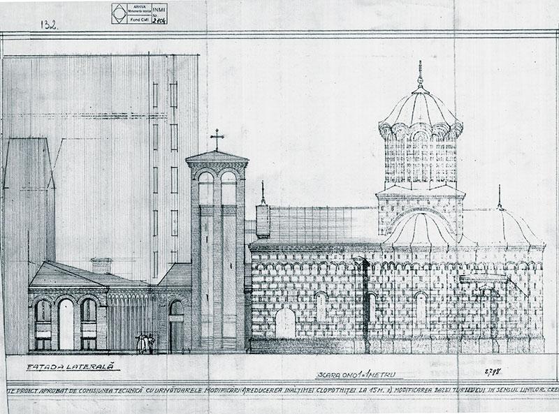 """Arh. Horia Teodoru, Proiect turn clopotniță și casă parohială biserica """"Curtea Veche"""" din București, arhiva I.N.P., fond C.M.I. - Planșe, nr. inv. 2798"""