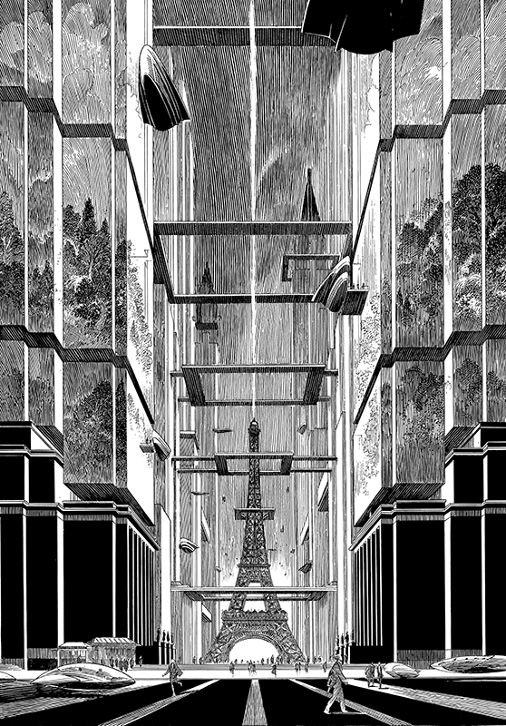 Desenul pentru afișul expoziției Revoir Paris,  François Schuiten, 2014, tuș pe hârtie