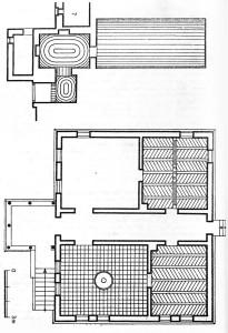 Releveul casei Cerchez (perspectivă, plan pivniță, plan parter) realizat de Eugenia Greceanu.