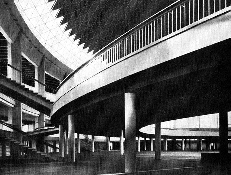 Pavilionul Romexpo (fost EREN) Bucureşti, vedere interioară, Arhitectura R.P.R., nr. 4/1962