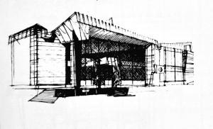 """""""O ultimă perspectivă a colțului clădirii, copertina portalului este aici metalică"""" M. Alifanti, Arhitectura, 6/1972, p. 28."""
