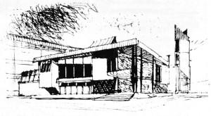 """""""Vedere a corpului principal în piața nouă a orașului"""" M. Alifanti, Arhitectura, 6/1972, pp. 25,"""