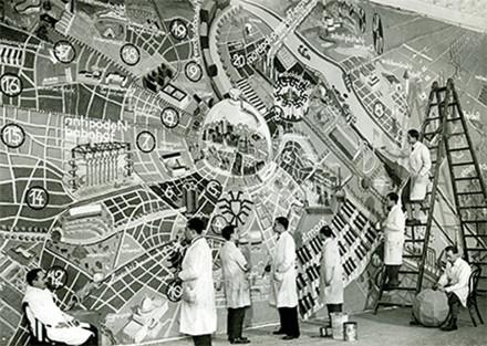 """Planul urbanistic al Vienei în anul 3000"""", carnaval la Casa Artiștilor, 1933. Proiectat și realizat de clasa prof. Siegfried Theiss © Archiv Künstlerhaus;"""