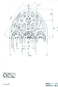 "Biserica ""Sf. Nicolae"" a Mănăstirii Probota, ancadrament piatră, desen arh. Horia Teodoru"