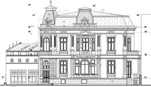 Fațada către Bulevardul Lascăr Catargiu a corpului principal, în plan secund corpul garajului, cu spații anexă la etaj;