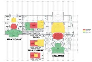 Foaier și Sala Studio, cota +5,50, Corp C, foaier și Sala Pictură cu variante de mobilare, cota +5,50, Corp Anexă, foaier Sala Mare - bar tapiserie cota +5,50, Corp A1 - Sala Mare;