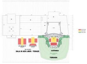 Teatrul în aer liber, cota +24,50, Corp A1, Sala Mare, variante de mobilare, cafenea, cota +16,80, Corp A1 Sala Mare