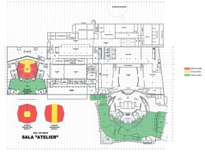 Sala Aterier, cota - 7,15, Corp C, variante de mobilare, Muzeul Teatrului Național, cota -6,70, Corp A1 - Sala Mare