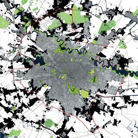 Gri : suprafață municipu în anul 2000 Verde: suprafață municipiu în anul 2012