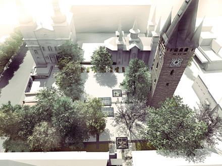Perspectivă aeriană Piața Cetății