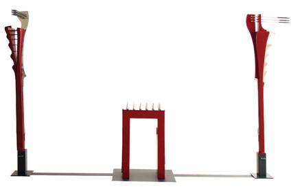 Csaba Győri,  Wind – Earth – Tears Table, stainles seel, painted steel, Wind:  202 x 33 x 60 cm, Tears table: 85 x  50 x 32 cm, Earth: 202 x 47 x 30 cm, 2012