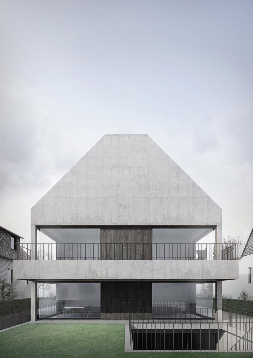 Casa dublă, Hanovra - Fațada principală