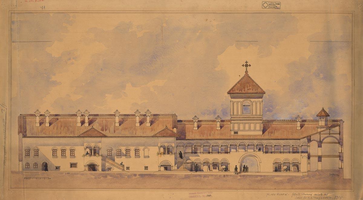 """""""Mănăstirea Hurezi – fațadă interioară incintă sud"""", desen de I. D. Trajanescu, 1915, planșa provine din arhiva I.N.P., fond C.M.I."""