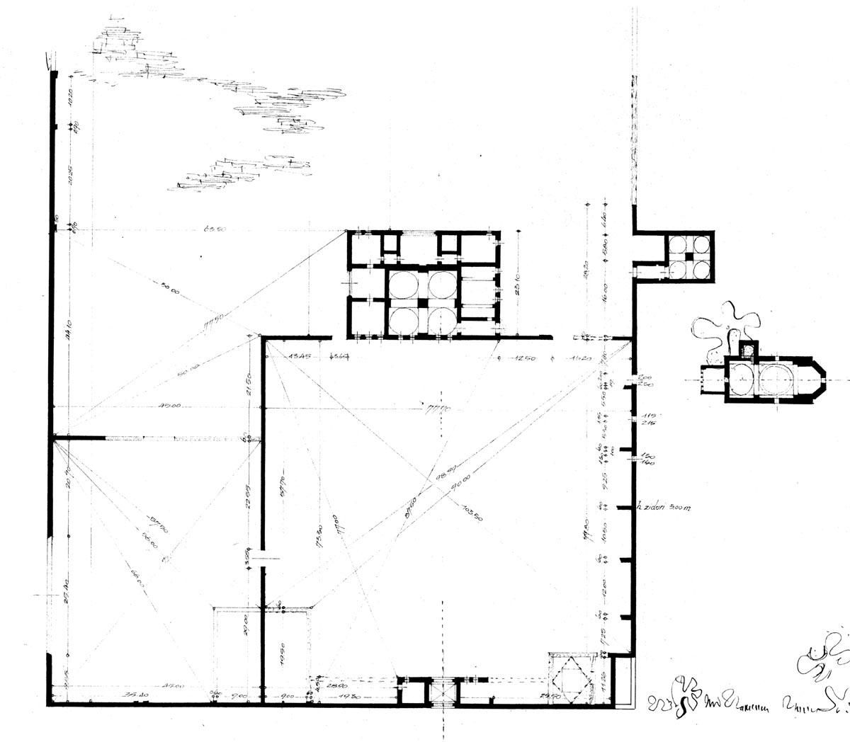 Planul de situație al curții de la Potlogi în 1947, releveul studenților Adriana Popp și V. Coronica. Arhiva D.I.T.A.C.P. / U.A.U.I.M.