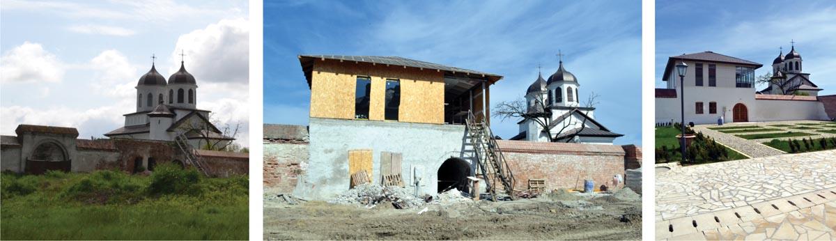 """Casa domnească """"de pe zid"""": vedere din 2014, înaintea începerii șantierului (stânga), vedere din timpul lucrărilor în 2015 (centru) și situația actuală (dreapta)"""