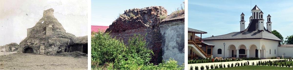 Ruinele cuhniei fotografiate la începutul secolului al XX-lea (arhiva C.M.I., stânga), rămășițe ale boltirii cuhniei prinse în zidul incintei, înaintea începerii șantierului de reconstrucție în 2014 (centru) și situația actuală (dreapta)