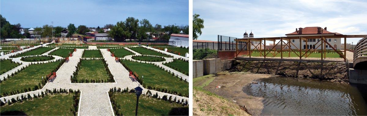 """Grădina în forma actuală (stânga) și vedere a palatului dinspre nord, cu """"heleșteul"""" în prim-plan (dreapta)"""