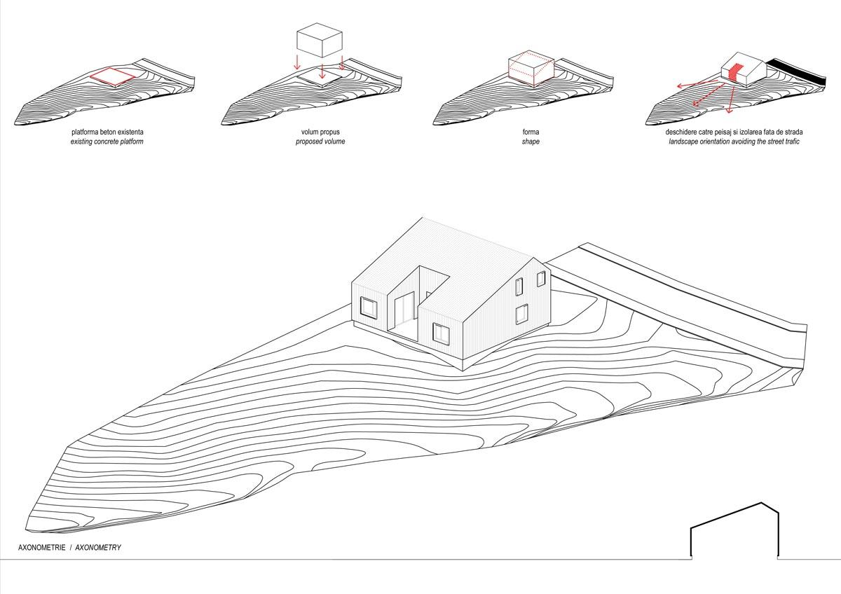 Casa din Comarnic - Axonometrie - Studiu concept