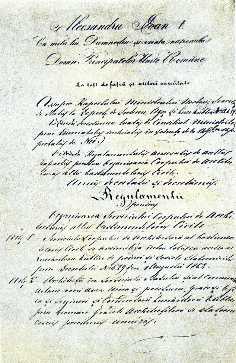 Regulamentul lui A. I. Cuza din 1864