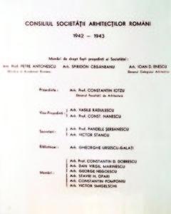 """Conducerea SAR din anii 1942-1943 (foto din arhiva UAR, după revista """"Arhitectura"""");"""