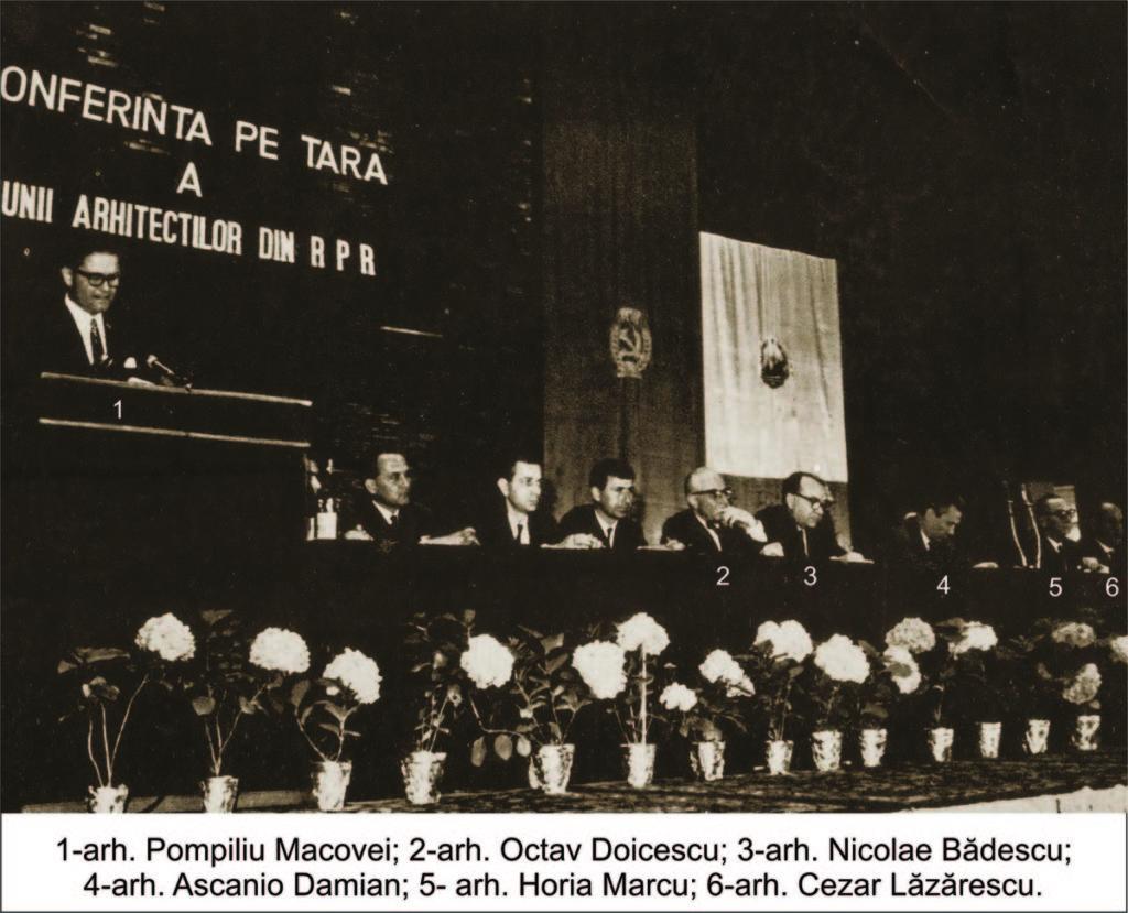"""Prezidiul Conferinţei UA din RPR din 24-26 mai 1965: 1 arh. Pompiliu Macovei, 2 arh. Octav Doicescu, 3 arh. Nicolae Bădescu, 4 arh. Ascanio Damian, 5 arh. Horia Maicu, 6 arh. Cezar Lăzărescu (revista """"Arhitectura RPR"""" nr. 3/ 1965)"""