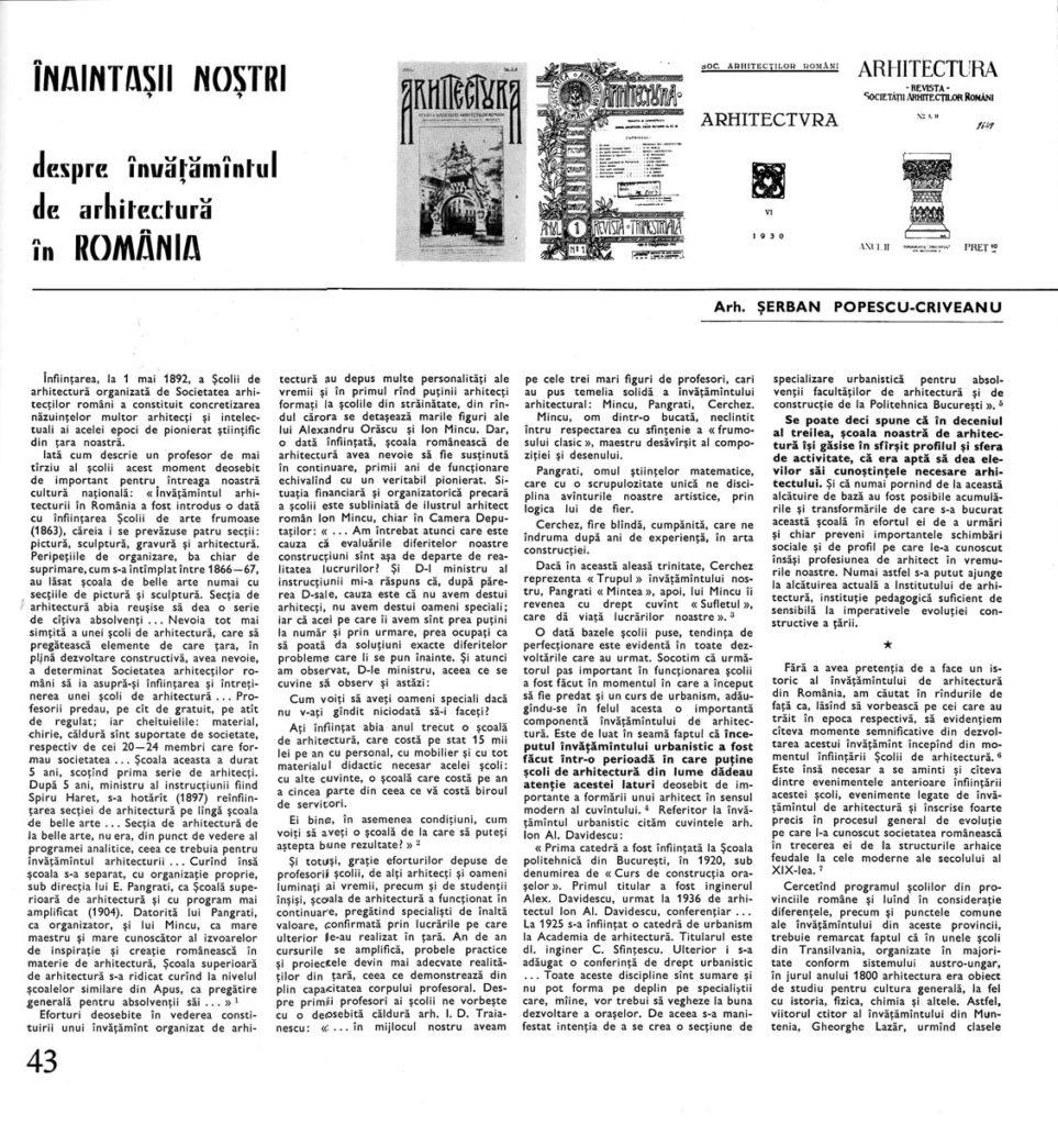 Unul dintre primele articole apărute în cadrul rubricii, aparținând lui Șerban Popescu-Criveanu; identitatea grafică (antet, corp de literă) este deja stabilită (nr. 5/ 1972).