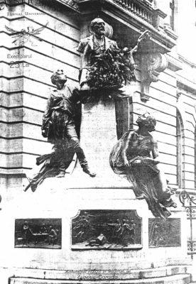 Monumentul incluzând bustul lui Eugeniu Carada, ridicat în 1924 și demolat la sfârşitul anilor 1940. Sculptor: Ernest-Henri Dubois. Reconstituit în 2013 de sculptorul Ioan Bolborea