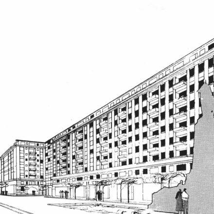 Proiectul din 1958 pentru blocul din vecinătatea Monumentului Tache Ionescu şi care prevedea păstrarea acestuia
