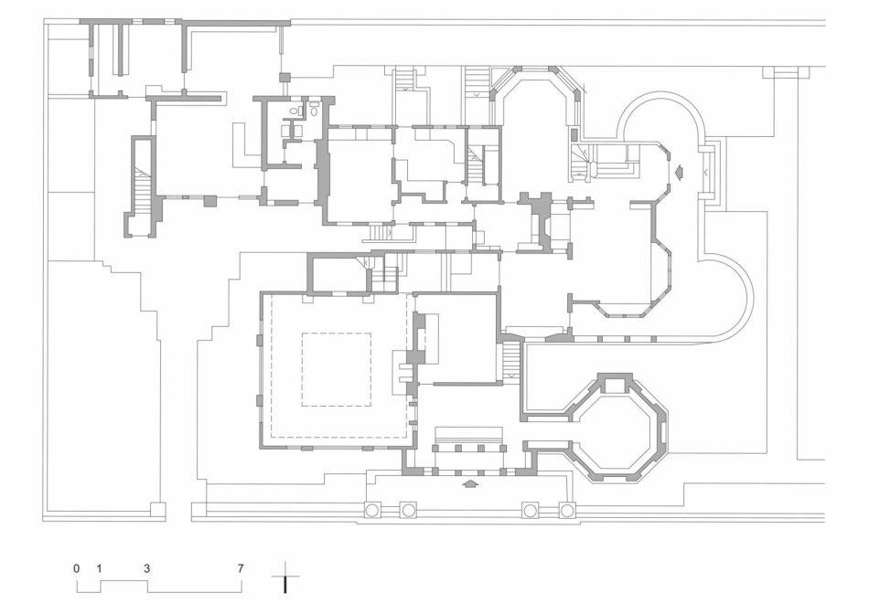 2 - Frank Lloyd Wright: Locuința și atelierul, Oak Park, Chicago, 1889-1895, planul parterului