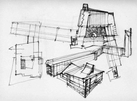 Desene și schițe pentru Primăria Baia Mare extrase din caietul de detalii al arhitectului Mircea Alifanti (prin amabilitatea redacției sITA și a doamnei Ioana Florian)