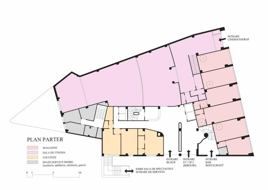 Imobilul Union (Lăzărescu), plan parter(cf. proiect 1945)
