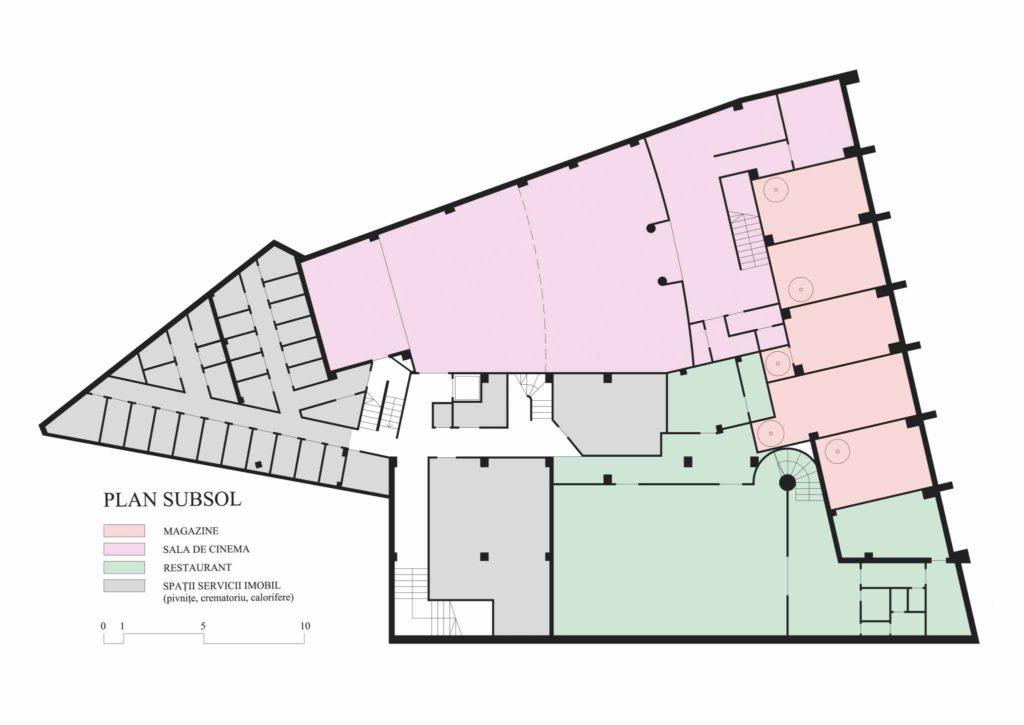Imobilul Union (Lăzărescu), plan subsol (cf. proiect 1945)