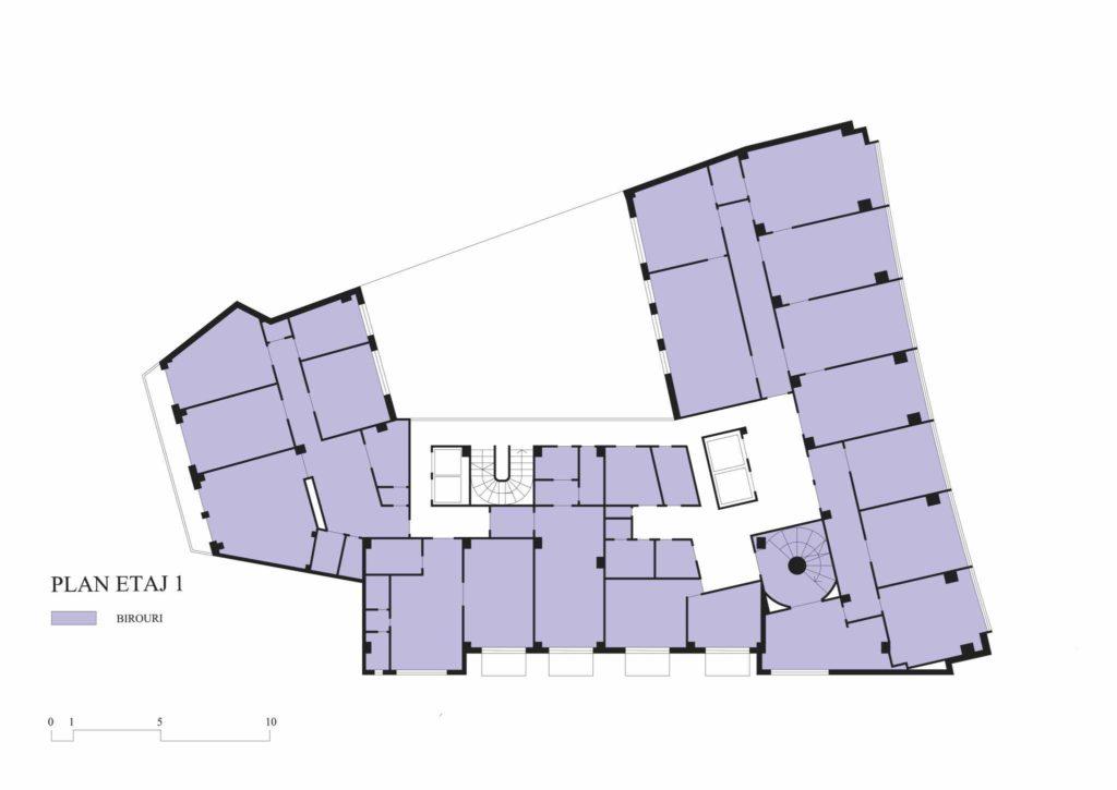 Imobilul Union (Lăzărescu), plan etaj 1 (cf. proiect 1945)